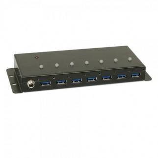 7 Port USB 3.0 Industrial Hub, Metal Case