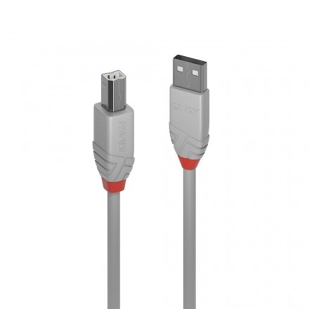 0.5m USB 2.0 Type A to B Cable, Anthra Line, Grey