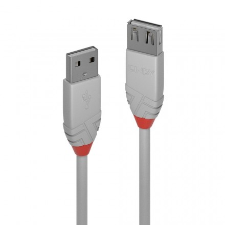0.5m USB 2.0 Type A Extn Cable, Anthra Line Grey