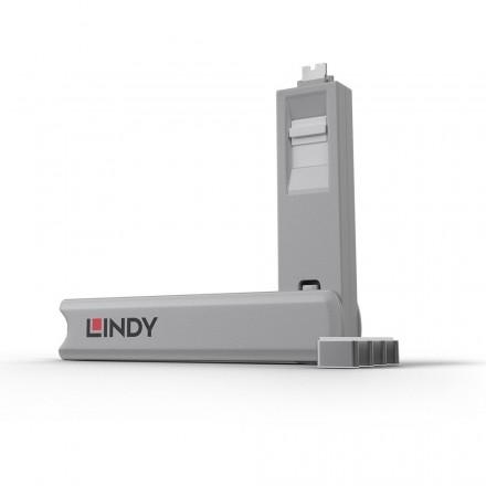 USB Type C Port Blocker, 4 Pack + Key, White