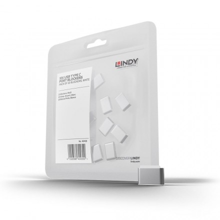 USB Type C Port Blocker, 10 Pack, White
