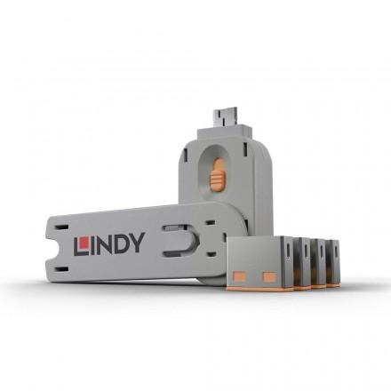 USB Type A Port Blocker, 4 Pack + Key, Orange