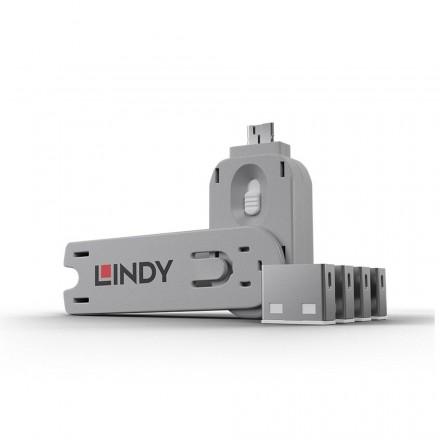 USB Type A Port Blocker, 4 Pack + Key, White
