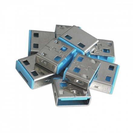 USB Port Blocker, 10 Pack, Colour Code: Blue
