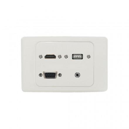 HDMI + VGA + USB + PC Audio Wall Plate