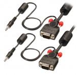15m Premium VGA & Audio Cable, Black