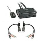 2 Port KVM Switch Compact DP, USB 2.0 & Audio