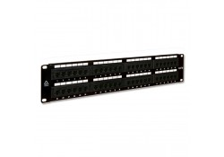 48 Port CAT6 RJ-45 Patch Panel, 2U, Black