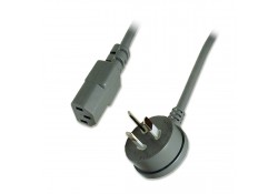 Power Cable R/A 3-pin Plug to IEC C13 Socket, 2m