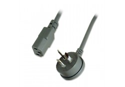 2m Power Cable R/A 3-pin Plug to IEC C13 Socket