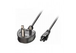 2m UK Power Cable 3-Pin Plug to IEC C5 Socket