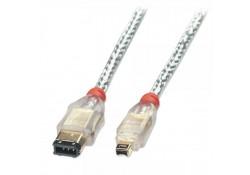 Premium FireWire Cable 4P / 6P, Transparent, 15m