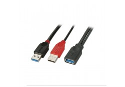 0.5m USB 3.0 Dual Power Cable, Type A Extension
