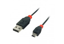USB 2.0 Cable, Reversible Type A to Mini-B, 0.5m