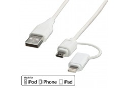 USB to Micro-B and Apple Lightning Cable, 1m