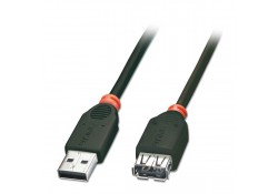 USB 2.0 Extension Cable, Black, 1m