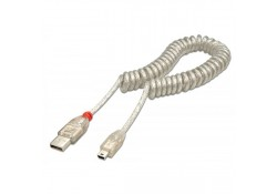 2m USB 2.0 Coiled Cable, Type A to Mini-B