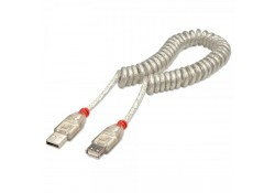 2m USB 2.0 Coiled Cable, Type A Male to Female