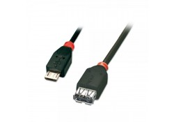 USB OTG Cable, Type Micro-B Male to A Female, 0.5m