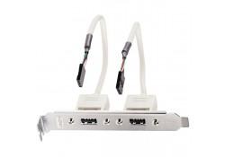 USB 2.0 PC Back Plate, 2x USB A Female / 4-pin IDC