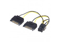 2 x SATA to PCIe 6-Pin Power Adapter Cable, 15cm