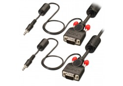 15m Premium VGA & Audio Cable, Black