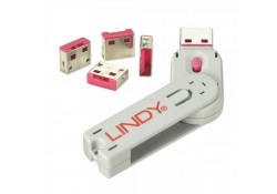 USB Port Blocker, 4 Pack+Key, Colour Code: Red