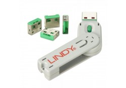 USB Port Blocker, 4 Pack+Key, Colour Code: Green