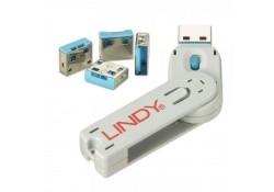 USB Port Blocker, 4 Pack+Key, Colour Code: Blue