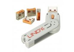 USB Port Blocker, 4 Pack+Key, Colour Code: Orange
