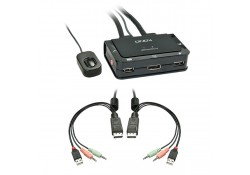 2 Port KVM Switch Compact DP, USB 2.0 & Audio
