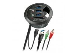 4 Port USB 3.0 In-Desk Hub & Card Reader